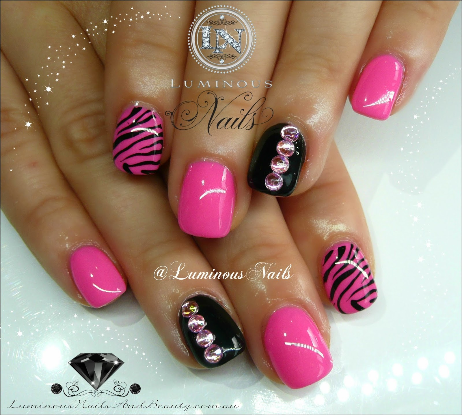 Modern Hot Pink Nails With Zebra Tips Gift - Nail Art Ideas ...