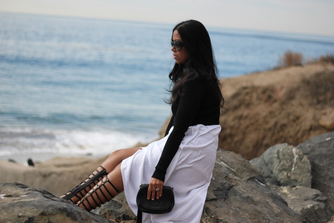 bcbgmaxazria willow dress knee high gladiator gucci chain bag malibu beach