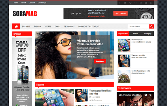 sora mag blogger template
