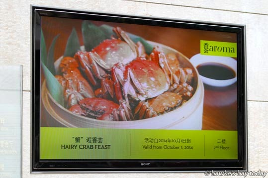 Video advert for a Hairy Crab Feast, in the foyer of hotel, Hyatt on the Bund photograph