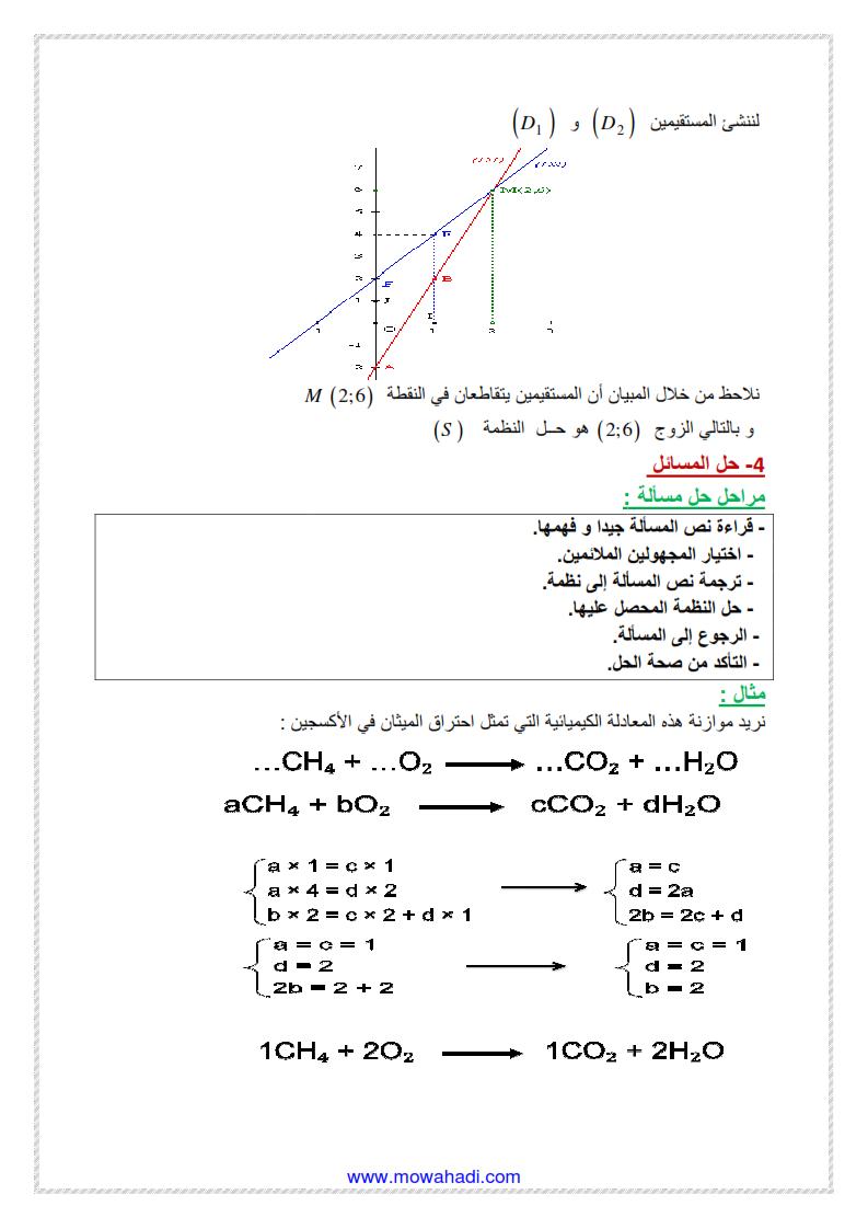 نظمة معادلتين من الدرجة الاولى بمجهولين1