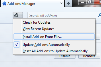 ons setting option and click install add ons from file