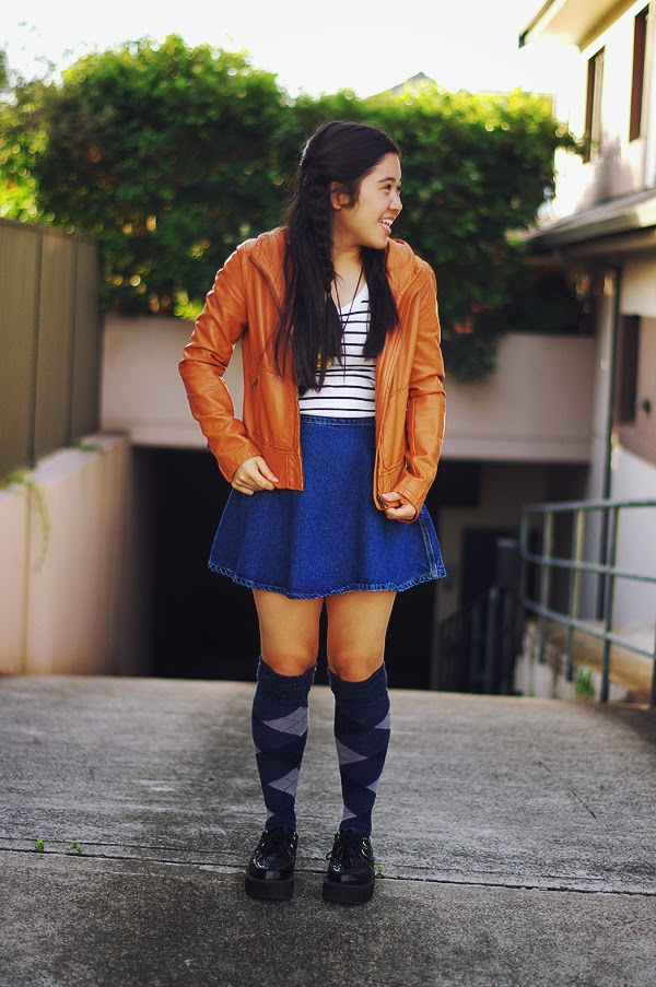 elashock, karen, fashion, fashion blog, fashion blogger, personal style, personal style blogger, uniqlo, country road, american apparel, tuk, creepers, knee high socks, knee-hi socks, socks, japan, japanese, australia, sydney, teen blogger, teen, girl, エラショック, ファッションブロガー, ファッションブログ, ファッション, 私服, コーデ, コーディネート, お洋服, ユニクロ, アメアパ, アメリカンアパレル, 厚底, 靴, 靴下, スカート, 英語, 日本語, オーストラリア, シドニー, 女子高生, JK, カレン, ティーン, ティーンズ, 革ジャン