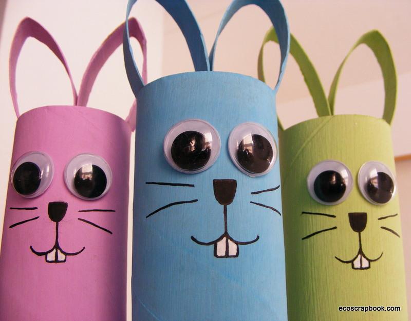 Ecoscrapbook easter kid s craft toilet paper roll bunnies