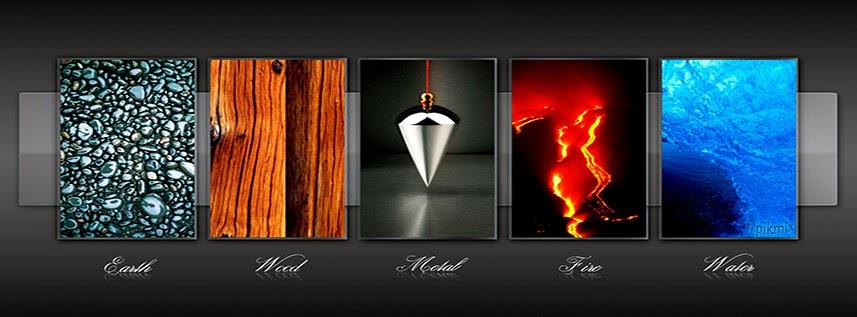 Portada para facebook ~ Cinco elementos  ~ tierra, agua,metal,  fuego, madera,