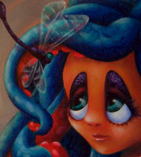 Octopus girl and dragonfly acrylic painting