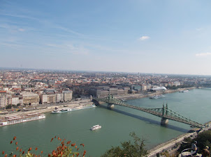 """Panoramic view of """"Liberty Bridge"""" and Pest side of Budapest from Citadella."""