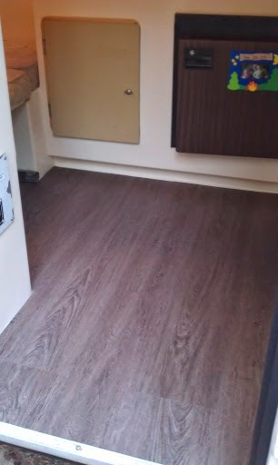 Allure Vinyl Plank Flooring in our Fiberglass U-haul (uhaul) Camper