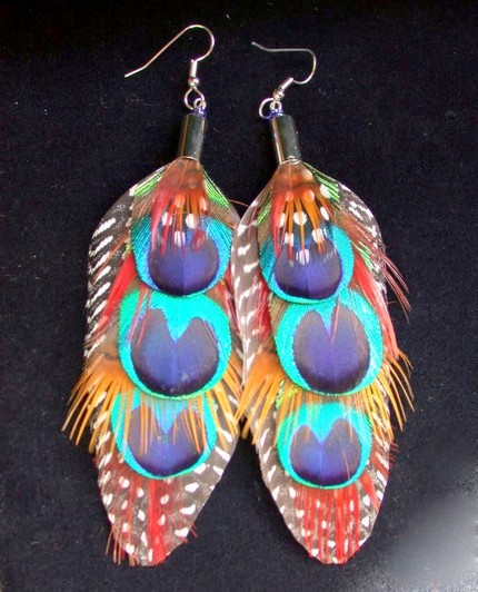 wallpaper picture arts peacock feather earrings