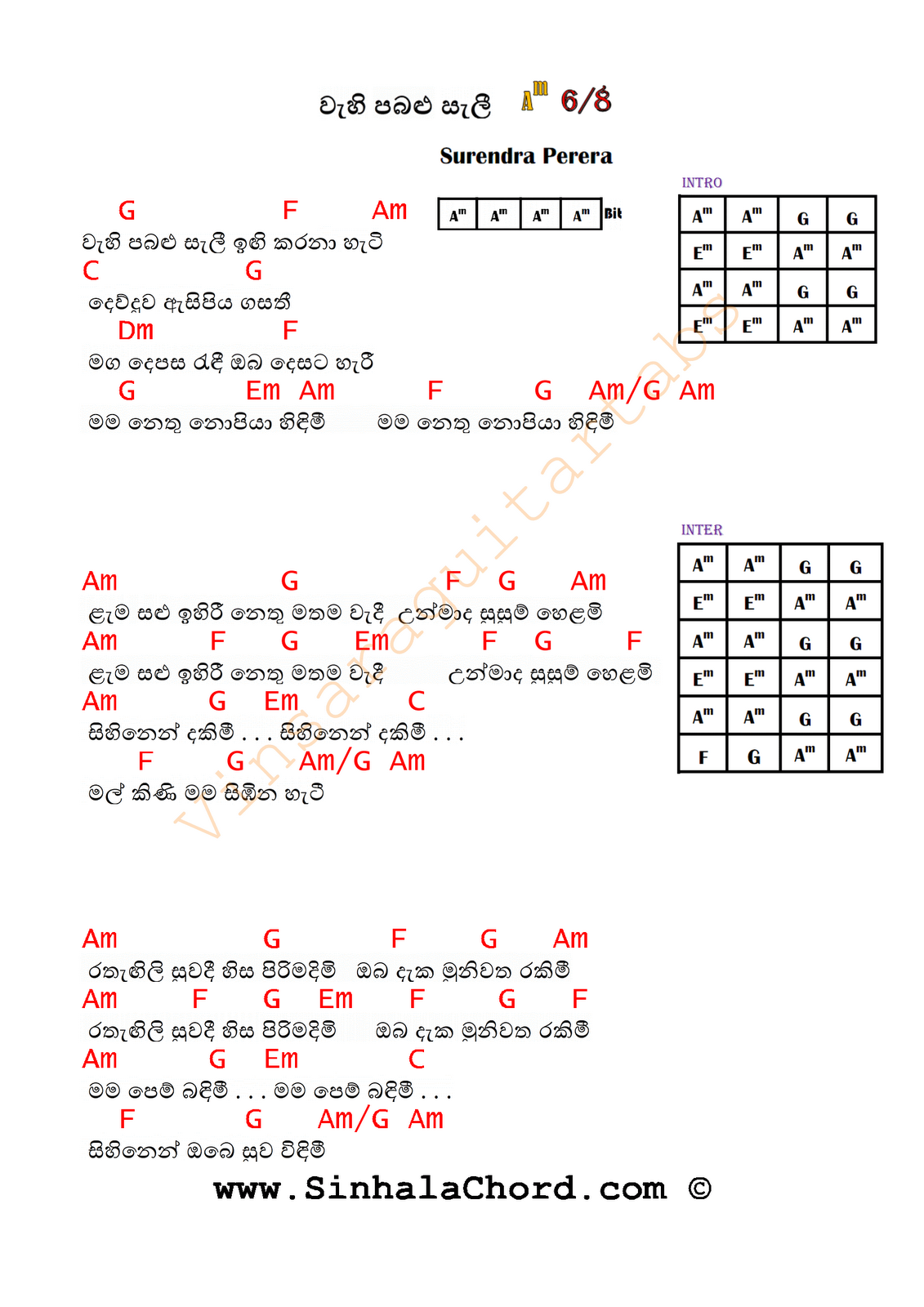 Wehi Pabalu Seli Guitar Chords Sinhala Guitar Chordssinhala Songs