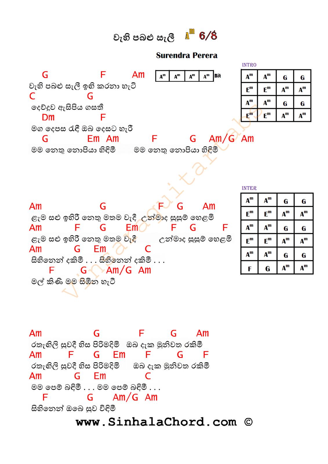 Guitar chords for sinhala