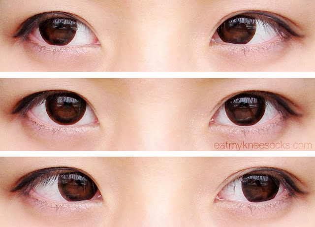 Left, right, and center views wearing the G&G GBT P7 Choco circle lenses from Klenspop, along with simple ulzzang-inspired makeup.