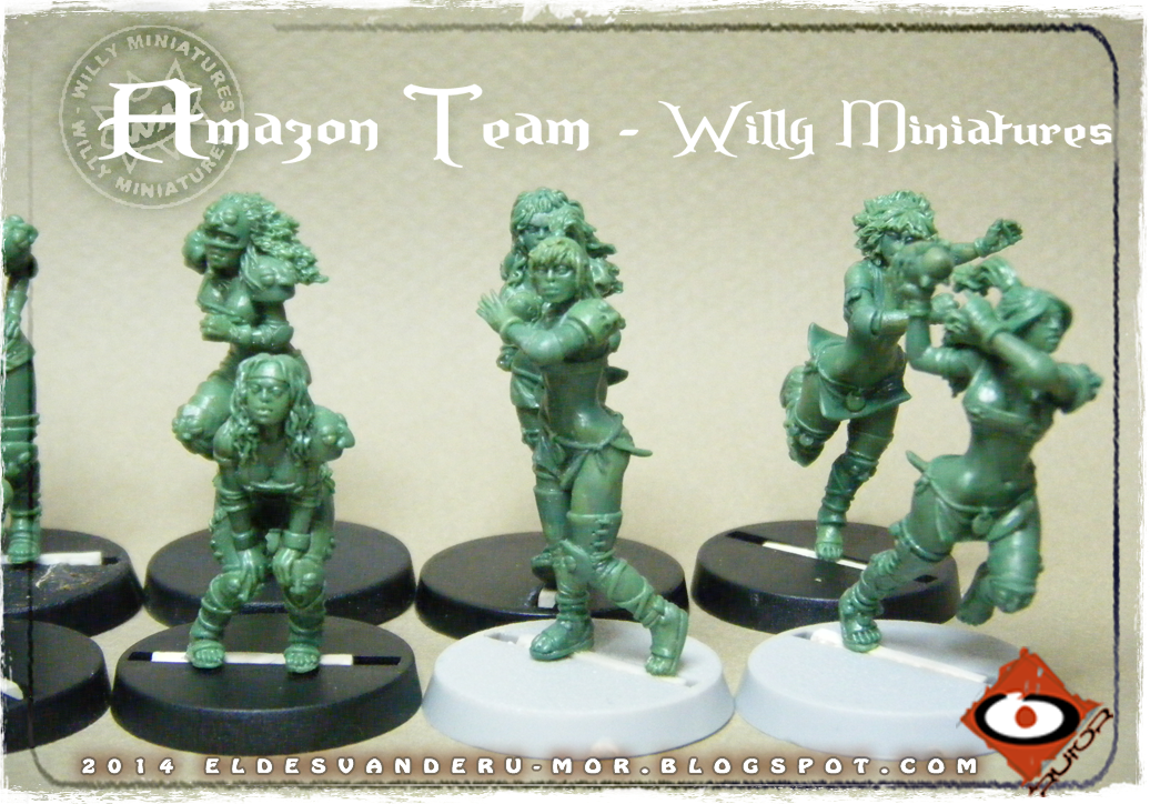 Foto de varias miniaturas del Equipo Blood Bowl de Amazonas de WILLY Miniatures hechas por ªRU-MOR. Thrower, Blitzers and linewoman, fantasy football