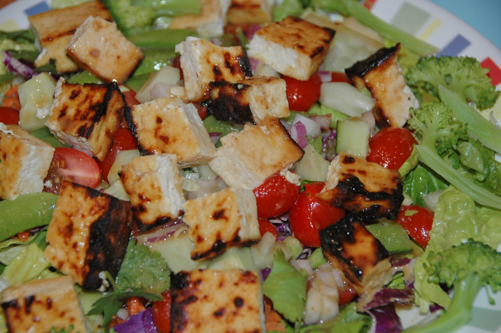 The other day I saw a recipe for Grilled Tofu Salad with Miso Dressing ...