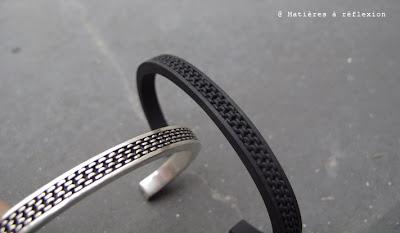 Bracelet jonc homme Orner argenté ou noir
