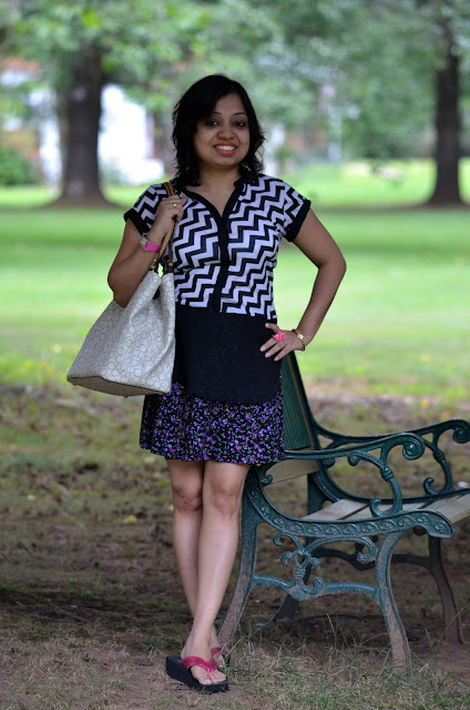 outfit post with chevron print, mixing prints outfit post, chevron top, floral skirt, neon flipflop, nine west watch, charlotte russe skirt, Rue 21 top