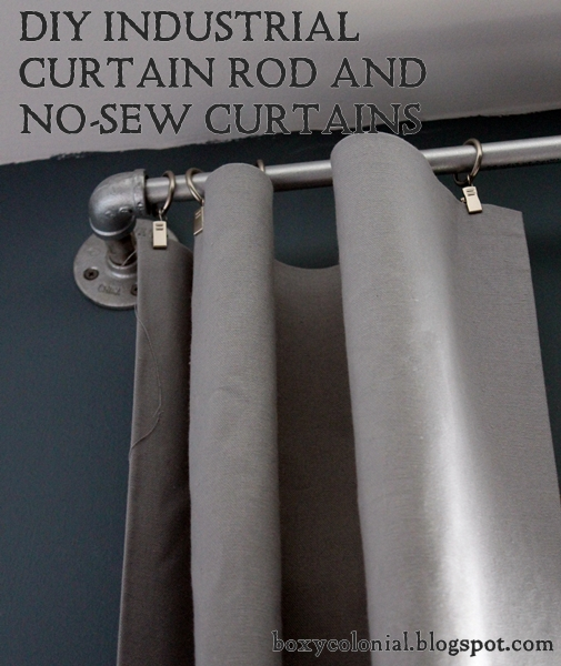 boxy colonial diy industrial curtain rods and no sew. Black Bedroom Furniture Sets. Home Design Ideas