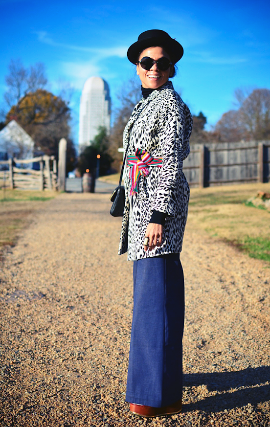 Leopard with denim