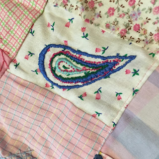 hand work, hand embroidery, crazy quilt, pink, 1980s, paisley, scrap quilt
