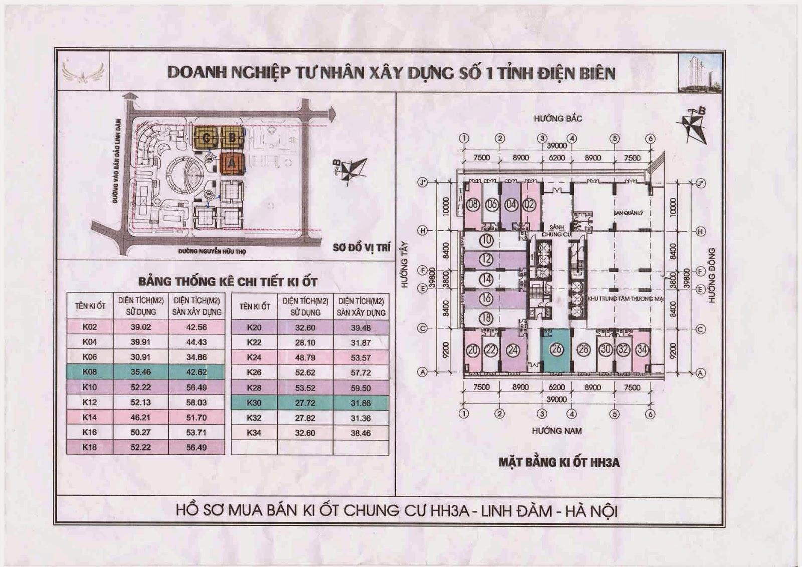 Sơ đồ kiot chung cư HH3A Linh Đàm căn số 12 và 14 - 0917078221