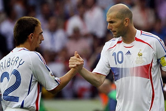 Franck Ribéry and Zinedine Zidane played together in the French national team