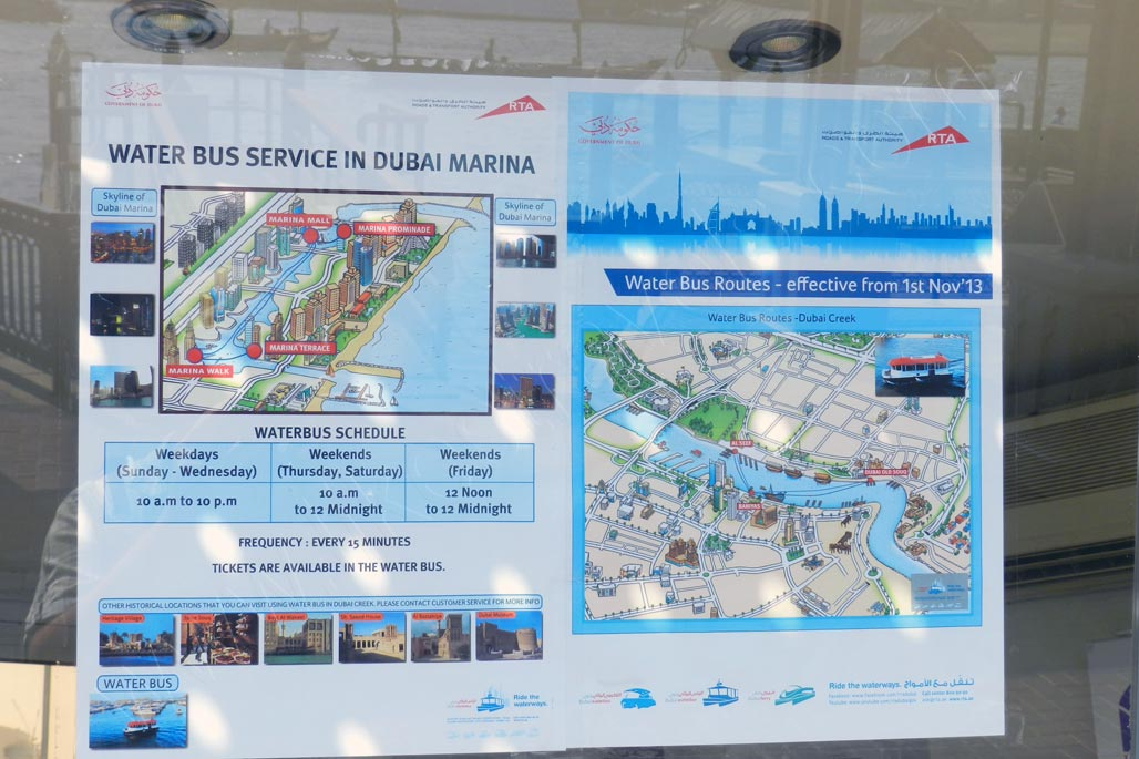 Information board of Dubai Marina water bus service