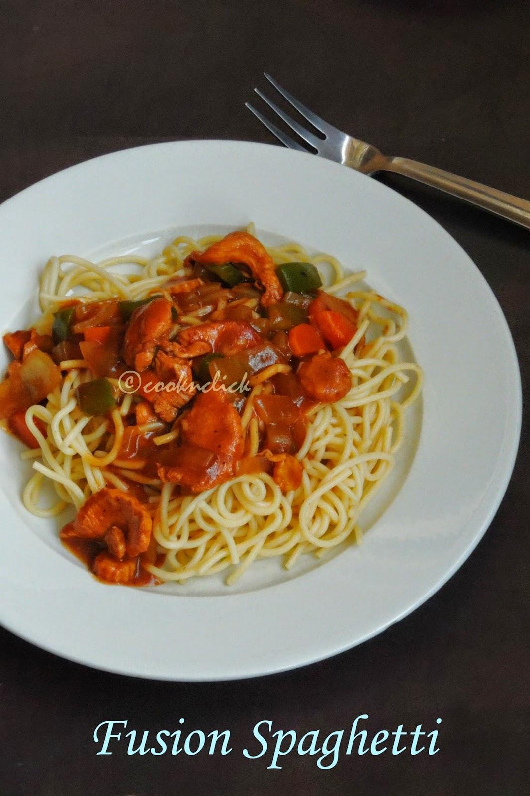 Chinese style spaghetti,fusion spaghetti