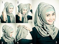 cara memakai jilbab segi empat pashmina pasris modern