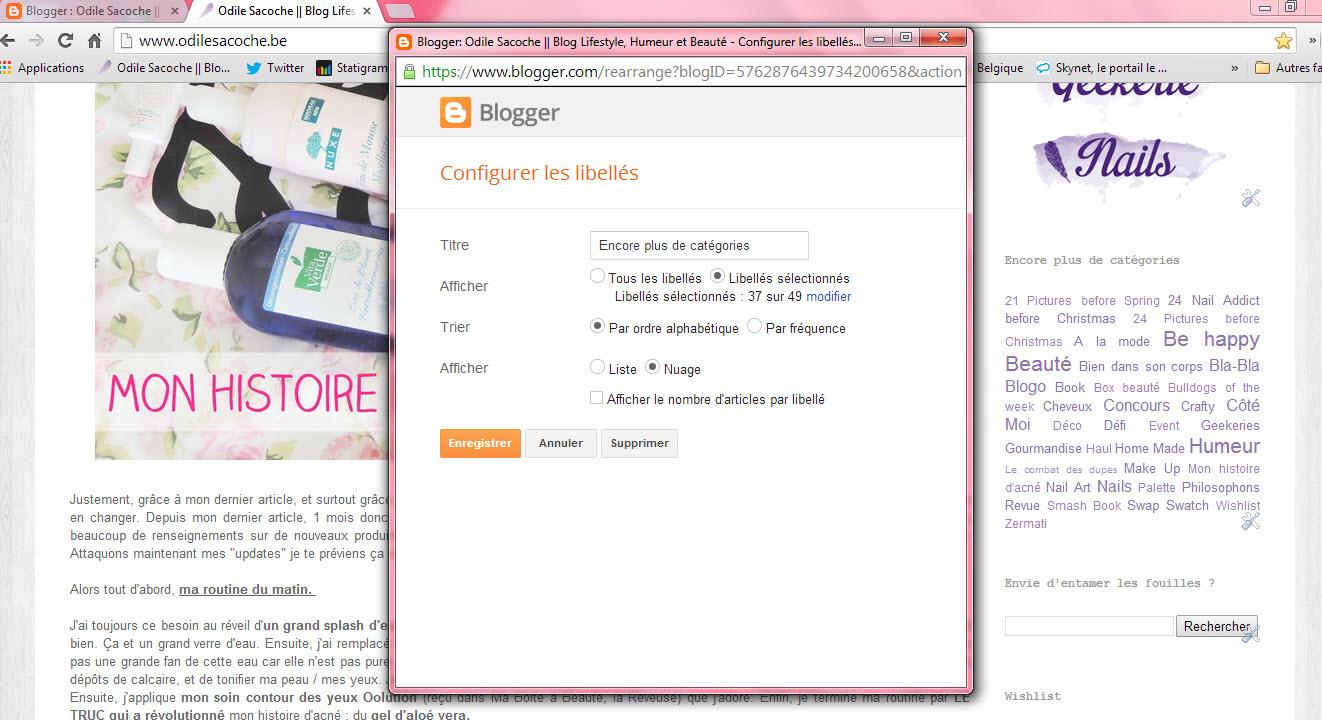 Comment modifier l'affichage des libellés blogger ?