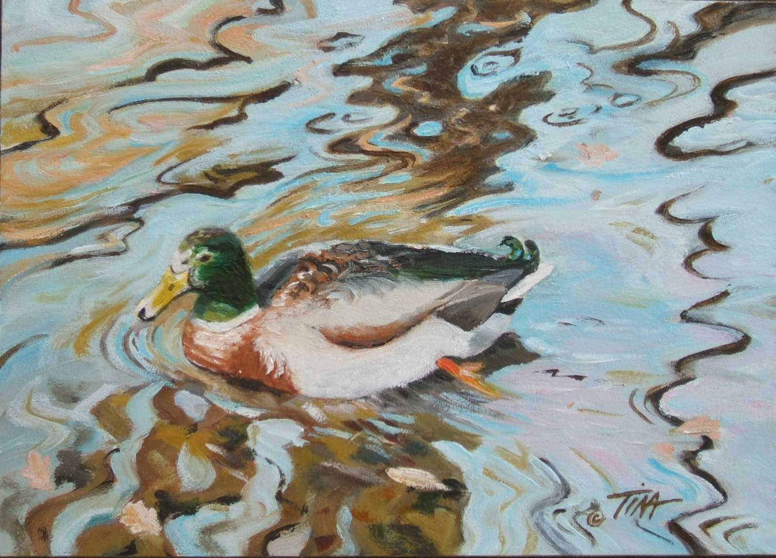 """Ripples With Duck"" 5"" x 7"" oil on gessobord, © 2012 Tina M Welter"