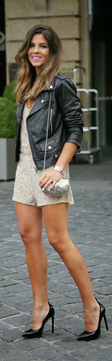 Embellished Sequin Romper with Leather Moto and High Heels | Chic Street Outfits