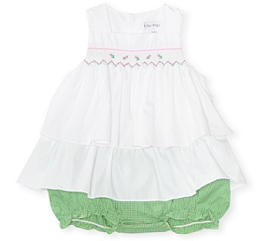 MyHabit: Up to 60% off Bebe Mignon for Baby - Top and Bottom Check Sundress. Precious double layer ruffle dress with attached gingham elasticized bloomers with snap closure