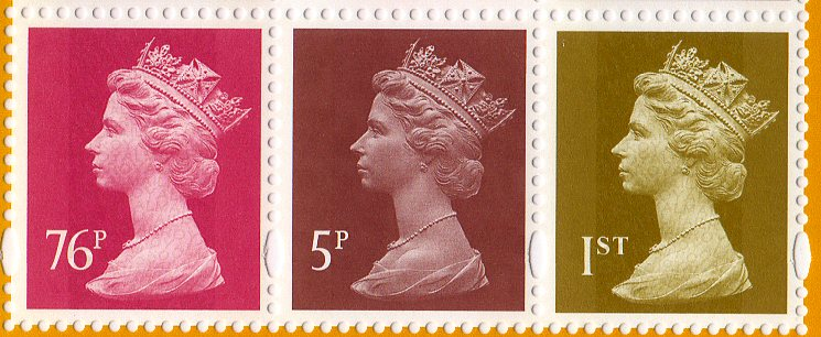 76p, 5p & 1st class stamps from Aerial Post Centenary PSB.