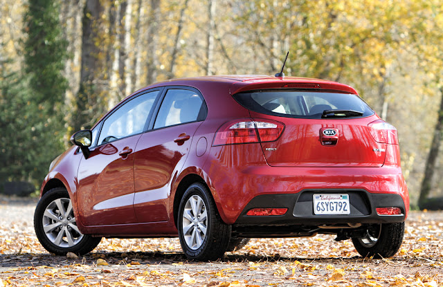 2012 Kia Rio rear shot - Subcompact Culture