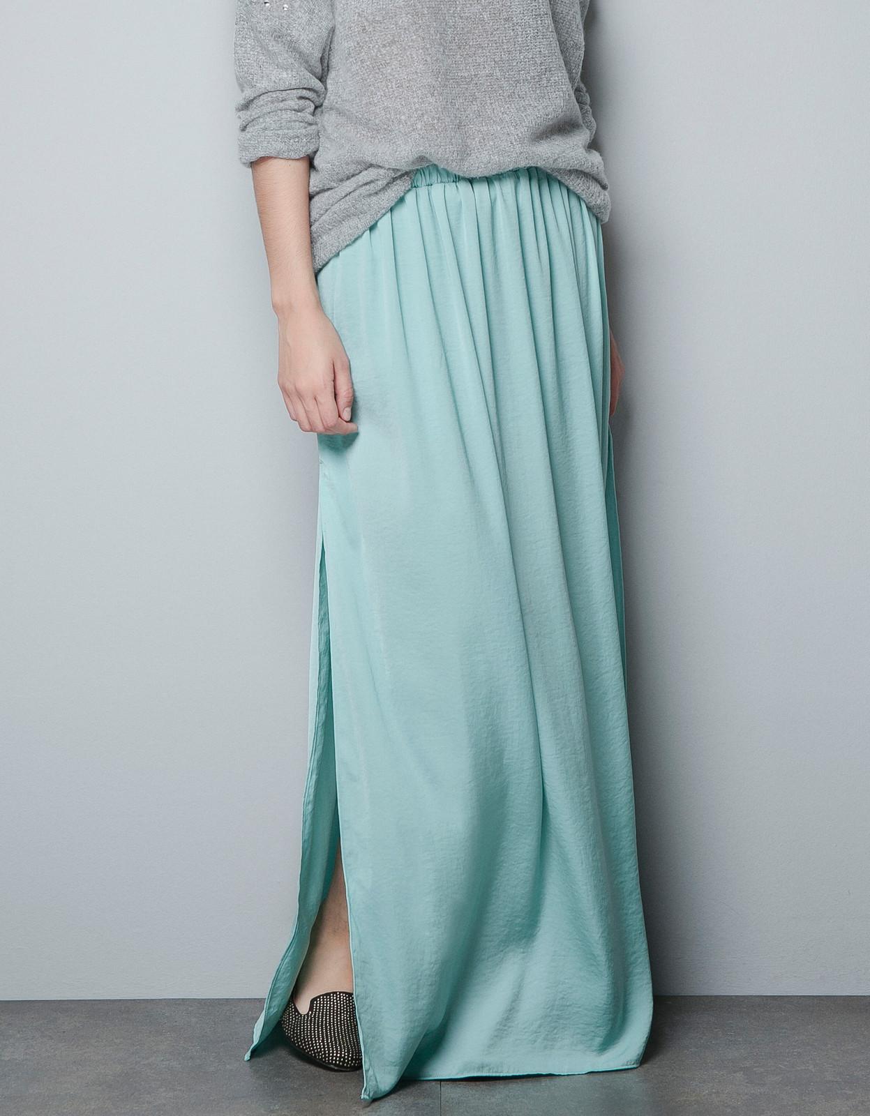 zara sold out maxi skirt dress green mint size s