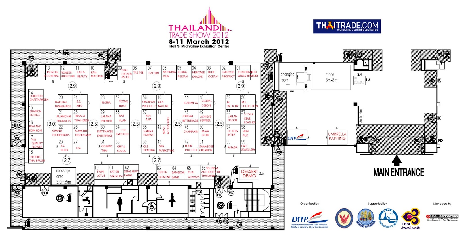 Thailand trade show 2012 8 11 march 2012 events nonstop for Trade show floor plan
