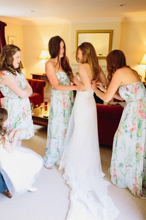 chiffon floral prints long bridesmaids dresses