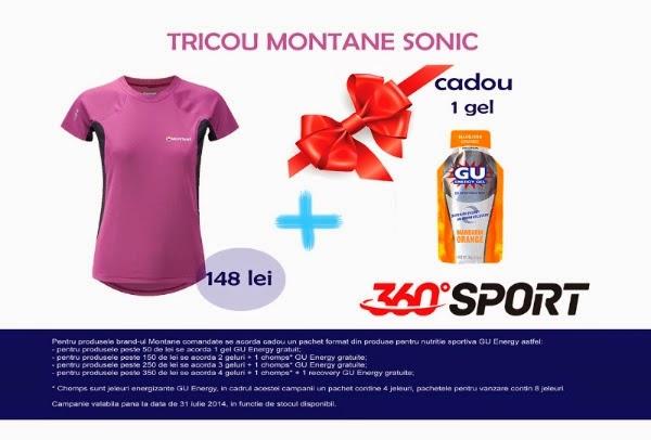 Câteva promoţii cu reduceri de la 360SPORT la brand-urile Montane şi GU Energy. Tricou Montane Sonic
