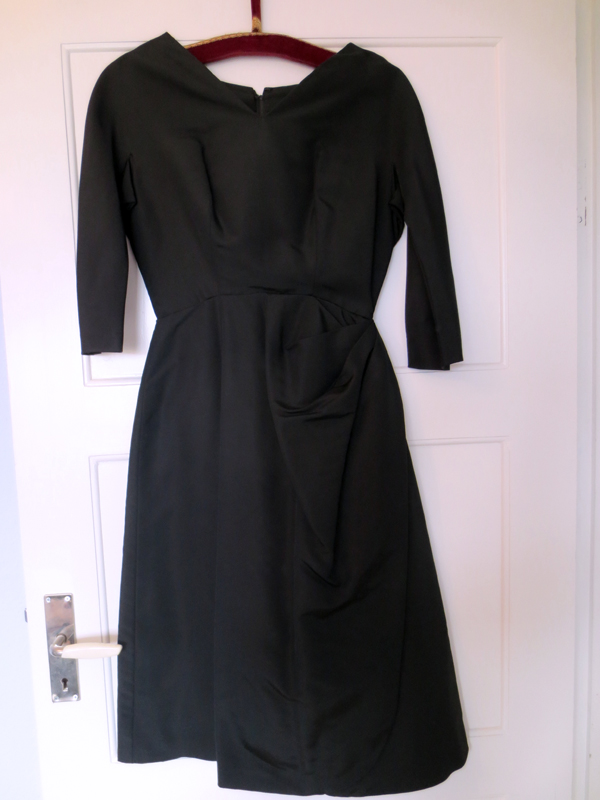 1950's vintage french black silk faille dress with draping