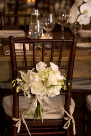 Flowers On Rustic Theme Wedding Chair Decoration