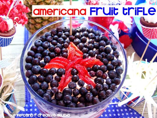 americana fruit trifle, memorial day dessert idea, strawberries, blueberries