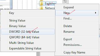 Klik kanan pada desktop sangat membantu pengguna dalam navigasi komputer, tetapi untuk orang yang membuka usaha warnet, klik kanan pada navigasi desktop... Ok. kali ini saya hanya fokus dalam membagikan cara menonaktifkan klik kanan pada desktop, perhatikan langkah-langkah dibawah ini. ( Diharapkan disimak baik-baik, agar tidak ada kesalahan system pada komputer anda ) Pilih folder HKEY_CURRENT_USER > Software > Microsoft > Windows > Current Version > Policies > Explorer.