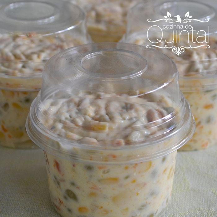Salada Russa ou Maionese, como eu chamo, em porções individuais na embalagem Galvanotek