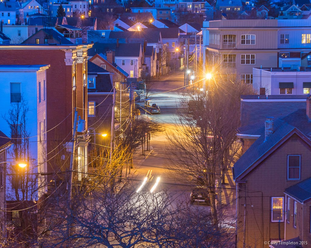 Portland, Maine April 2015 Newbury Street at night. Photo by Corey Templeton.