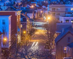 Portland, Maine April 2015 Newbury Street at night. Photo by Corey Templeton.