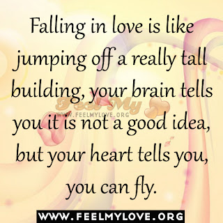 Falling in love is like jumping off a tall building