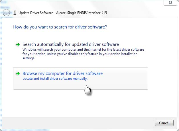 Pilih browse my computer untuk memilih driver