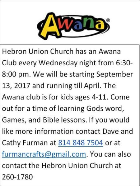 Every Wednesday thru April Awana Club Hebron Union Church