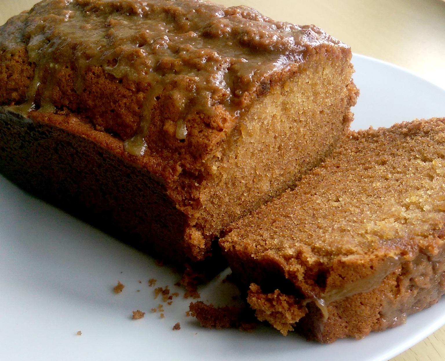 Gingerbread loaf with salted caramel glaze