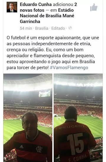 "Eduardo Cunha diz que só segue o lema de seu time: ""Roubado é mais gostoso"""